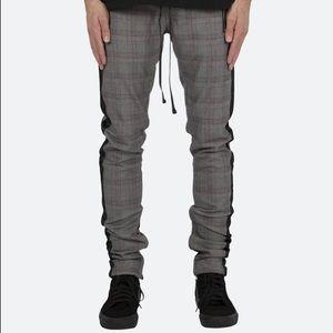 MNML LA Grandpa Track Pants Black Plaid Stripe EUC